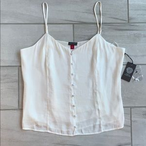 NWT Vince Camuto fabric button down strappy top